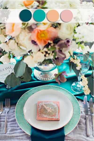 bridalidol_top_10_fall_wedding_colours_teal_and_peach